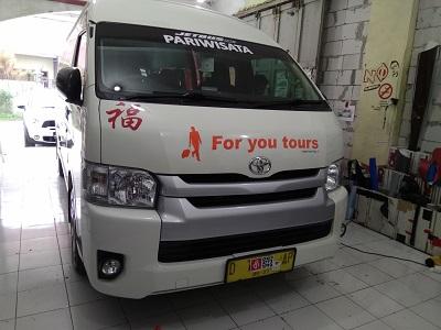 branding stiker mobil | for you tours hiace | mangele stiker 081227722792